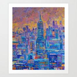 Manhattan - palette knife urban New York skyline city landscape by Adriana Dziuba Art Print