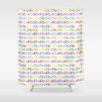bicycles Shower Curtains featuring Colorful Bicycles by MICHELLE MURPHY