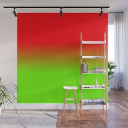Neon Red and Neon Green Ombré  Shade Color Fade Wall Mural