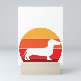 Vintage Retro 80s Dachshund Dog for Canine Friendly Families design Mini Art Print