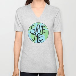 Save Me Earth Hand Drawn Unisex V-Neck