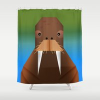 walrus Shower Curtains featuring Geometrical Walrus by Sloe Illustrations