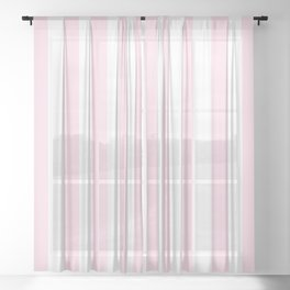 Simple Pink and White stripes, vertical Sheer Curtain