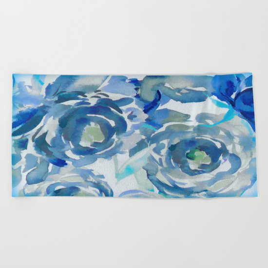 Sky Blue Painterly Floral Abstract Beach Towel