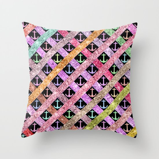 Girly Colorful Glitter Nautical Anchors Stripes Throw Pillow
