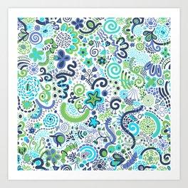 Teal Blue Green Zendoodle Art Print