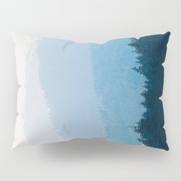 Parallax Mountain Hills Blue Hues Minimal Modern Landscape Photo Pillow Sham