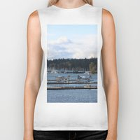 vancouver Biker Tanks featuring Vancouver Harbour by RMK Photography