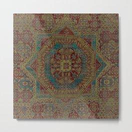 Mediterranean Medallion II // 15th Century Dark Colorful Kaleidoscope Sapphire Blue Red Rug Pattern Metal Print