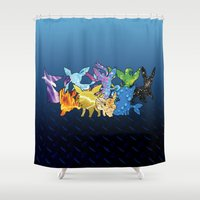 "sylveon Shower Curtains featuring ""The Dream Team"" - X & Y Eeveelutions by ShoeboxMemories"