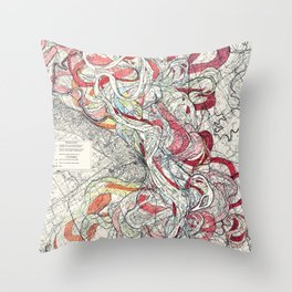 Cool Vintage Map of Mississippi River - Sheet 6 Throw Pillow