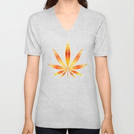 Cannabis Fire Leaf Unisex V-Neck