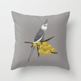 White Faced Cockatiel Throw Pillow