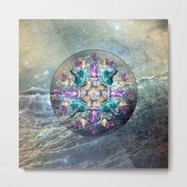 Ocean Jewels Jellyfish And Pearl Metal Print
