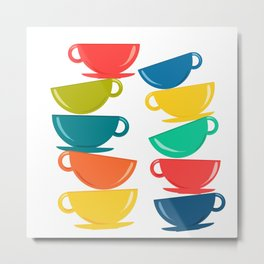 A Teetering Tower Of Colorful Tea Cups Metal Print