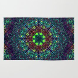 Mandala Glitch Stained Glass 2 Rug