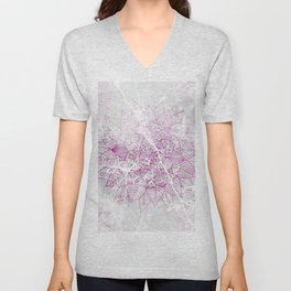 Modern abstract pink watercolor mandala marble pattern Unisex V-Neck