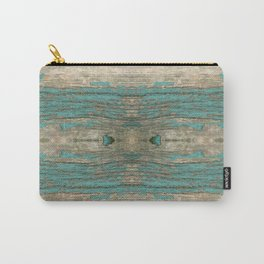 Weathered Rustic Wood - Weathered Wooden Plank - Beautiful knotty wood weathered turquoise paint Carry-All Pouch