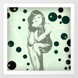 She Thinks In Retro Art Print