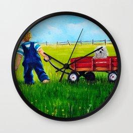 Brian and his Red Wagon Wall Clock