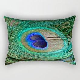 Peacock Feather Macro Design Rectangular Pillow