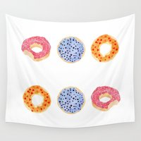 doughnut Wall Tapestries featuring doughnut selection by cardboardcities