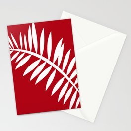 PALM LEAF RED AND WHITE PATTERN Stationery Cards