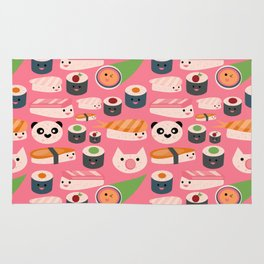 Kawaii sushi hot pink Rug
