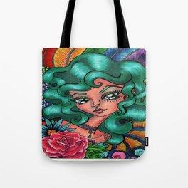 Teal Rose Big Eyed Beauty Tote Bag
