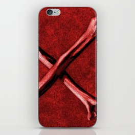 Red Cross Bones, Grungy Anatomy Tattoo style, art illustration print Colorful, Skeleton Realistic iPhone Skin