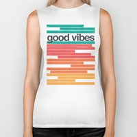 good vibes Biker Tanks featuring Good Vibes by Strange City