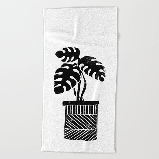 Linocut cheese plant monstera tropical leaf lino print black and white illustration art home dorm  Beach Towel