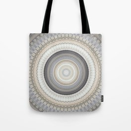 Blue Grey Vintage Mandala Tote Bag