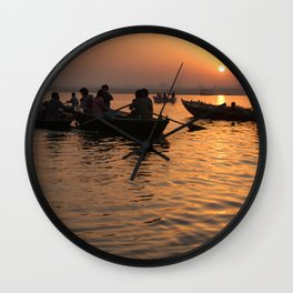 Tourists Enjoying Sunrise on the Ganges Wall Clock