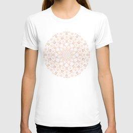 Rosey peach spring floral mandala T-shirt