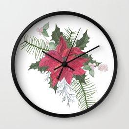 Red poinsettia flower arrangement Wall Clock