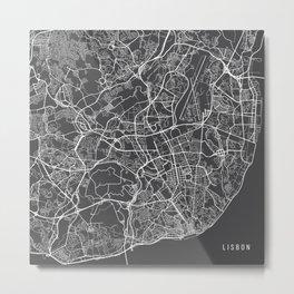Lisbon Map, Portugal - Gray Metal Print