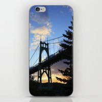 marc johns iPhone & iPod Skins featuring St Johns Bridge. by DAVID BIRKBECK