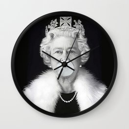 QUEEN ELIZABETH II BLOWING WHITE BUBBLE GUM Wall Clock