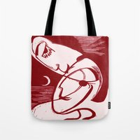 asexual Tote Bags featuring Asexual Kiss By The Sea And Under A Crescent Moon by taiche