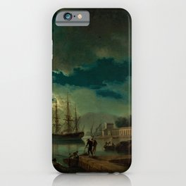 Night, A Port in Moonlight by Claude Vernet iPhone Case