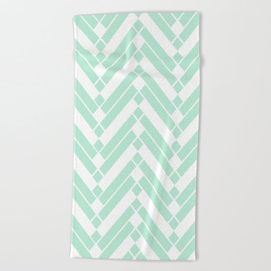 Chevron pattern - light green Beach Towel