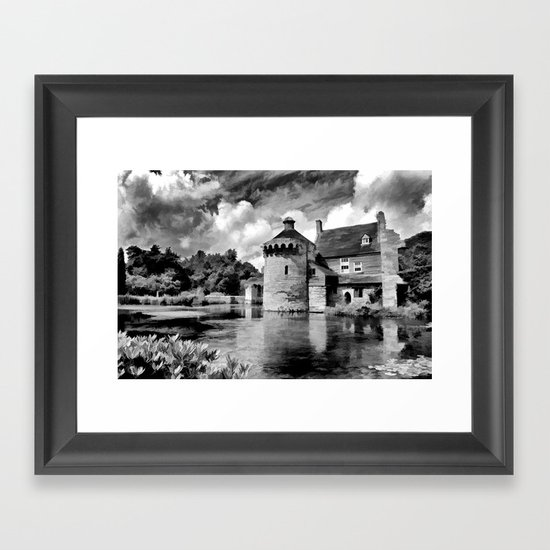 Black and White Scotney Castle Framed Art Print