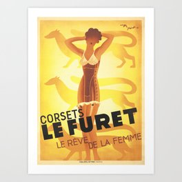 Vintage Advertising Poster - Corsets Le Furet by Roger Perot - Vintage French Lingerie Poster Art Print