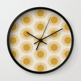 Golden Sun Pattern Wall Clock