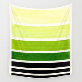 Sap Green Minimalist Mid Century Modern Color Fields Ombre Watercolor Staggered Squares Wall Tapestry