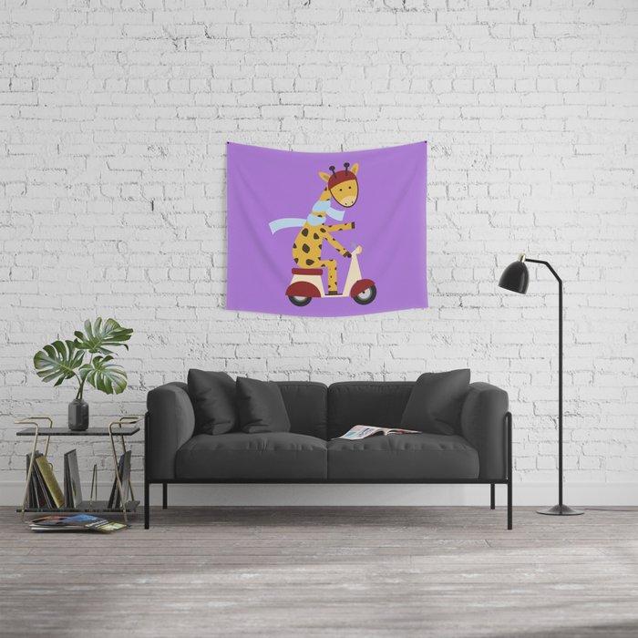 Giraffe on Motor Scooter Wall Tapestry