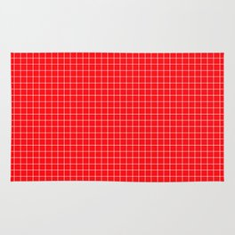 Red Grid White Line Rug
