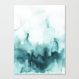 Soft teal abstract watercolor Canvas Print
