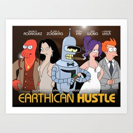 Earthican Hustle parody movie poster - C Art Print